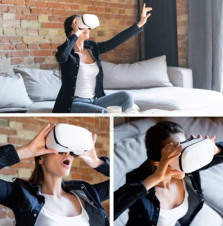 collage of emotional girl in virtual reality headsets in living room