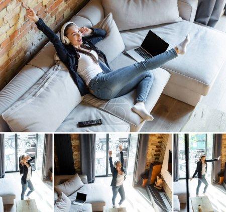 Photo pour Collage de fille heureuse dans les écouteurs sans fil dansant et se refroidissant sur le canapé près des ordinateurs portables avec écran blanc - image libre de droit