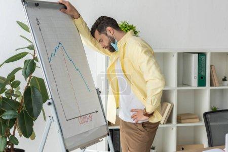 Photo pour Homme d'affaires stressé debout les yeux fermés près du tableau à feuilles avec inscription covid-19 et graphiques montrant une diminution - image libre de droit