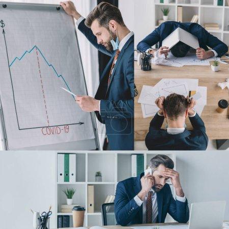 Photo pour Collage d'un homme d'affaires réfléchi se tenant près du tableau à feuilles, parlant sur un téléphone intelligent, couvrant la tête avec un ordinateur portatif - image libre de droit