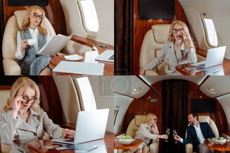 Collage de gente de negocios usando el ordenador portátil, beber champán cerca de ensalada en avión