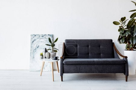 Photo pour Canapé moderne près de la table basse avec plantes, lampe vintage et tasse dans le salon - image libre de droit