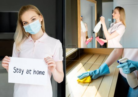 Photo for Collage of woman in medical mask holding paper with stay at home lettering and spray bottle with rag while house cleaning at home - Royalty Free Image