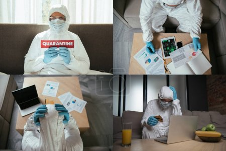 Foto de Collage of man in hazmat suit near digital tablet with charts and graphs, smartphone with blank screen, holding credit cards and paper with quarantine lettering. - Imagen libre de derechos