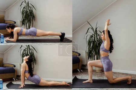 Photo for Collage with sportive woman doing plank and practicing yoga on mat at home - Royalty Free Image