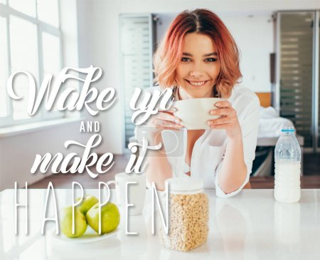 Photo for Happy girl eating cornflakes with milk for breakfast during quarantine with wake up and make it happen lettering - Royalty Free Image