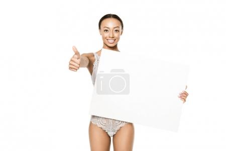 african american woman with banner and thumb up
