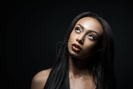 pensive african american woman