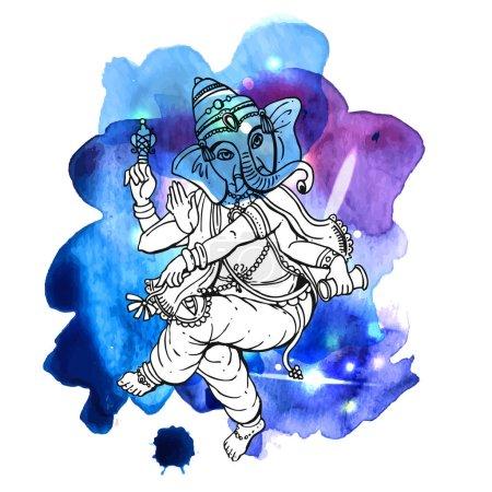 Illustration pour Illustration vectorielle avec Ganesha. Dessin à la main. Bon pour l'impression pour t-shirt, carte, invitations . - image libre de droit