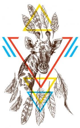 Illustration pour Beau portrait de girafe dessiné à la main. Style de croquis . - image libre de droit