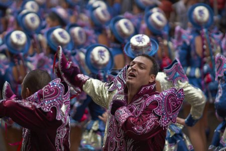 Caporales dance group in action
