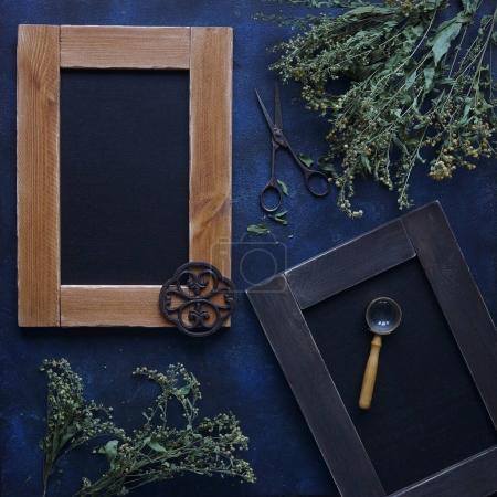 vintage wooden frames composition