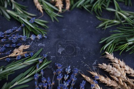 Aroma therapy, Healing herbs, Roseberry, wheat and lavender, Copy space, Dark background, Selective focus