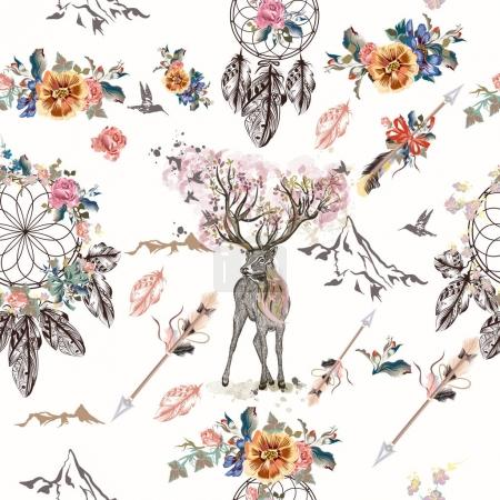 Illustration for Boho seamless pattern with arrows and dreamcatchers - Royalty Free Image
