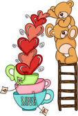 Teddy bears on top ladder with hearts love cups