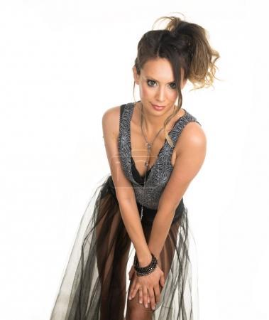 Beautiful woman wearing edm festival dance attire