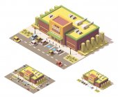 Vector isometric low poly supermarket