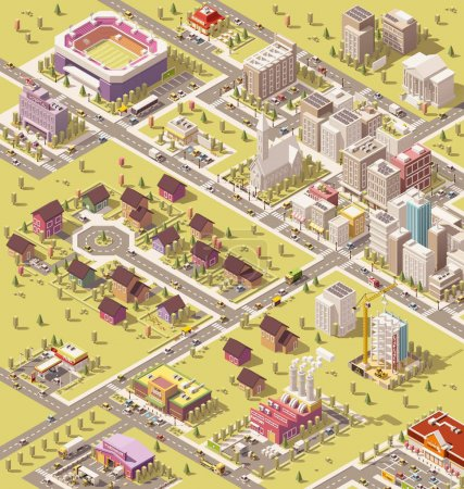 Illustration for Vector isometric low poly city infrastructure - Royalty Free Image
