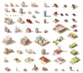 Vector isometric low poly buildings and houses