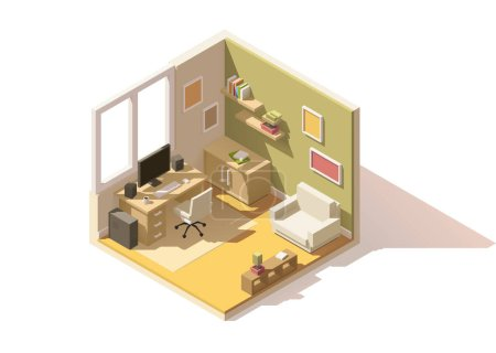 Illustration for Vector isometric low poly room cutaway icon. Room includes furniture - working table with computer, office chair, armchair, bookshelf and domestic plants - Royalty Free Image