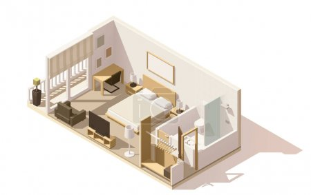 Illustration for Vector isometric low poly hotel room cutaway icon. Room includes twin bed, table, other furniture, tv and bathroom - Royalty Free Image