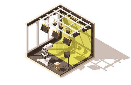 Illustration pour Icône vectorielle isométrique basse poly studio de télévision. Comprend caméra de télévision, éclairage, fond de clé chroma verte - image libre de droit