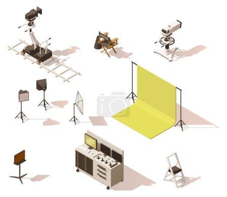 Illustration pour Vecteur isométrique basse poly film et tv équipement vidéo ensemble. Comprend les caméras vidéo, poupée de caméra, éclairage et autres équipements de processus de tournage de film - image libre de droit