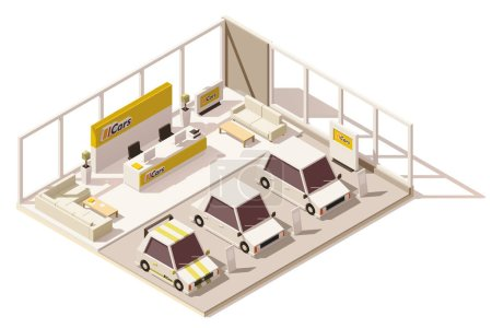 Vector isometric low poly car dealership showroom