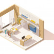 Vector isometric low poly clothing store cutaway i...