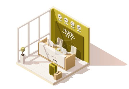 Illustration for Vector isometric low poly hotel reception cutaway icon. Includes reception desk and suitcases - Royalty Free Image