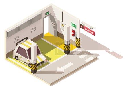 Illustration pour Vecteur isométrique bas poly parking souterrain. Comprend des places de stationnement, voiture, porte de sortie et extincteur sur le mur - image libre de droit