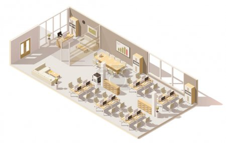 Illustration for Vector isometric low poly office. Includes boss room, tables, computers, office chairs and other furniture - Royalty Free Image
