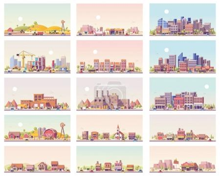 Illustration for Vector low poly landscapes set. Includes city, small town, factory, warehouse, countryside, construction site, gas station and restaurant - Royalty Free Image