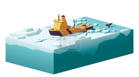 Vector low poly icebreaker breaking