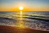sandy sea beach at the dusk