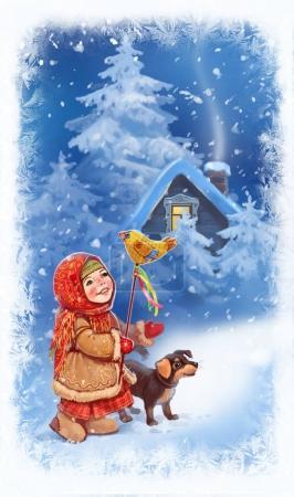 Photo pour Nouvel An, vacances d'hiver, festivals folkloriques, une fille avec jouet et chien - image libre de droit