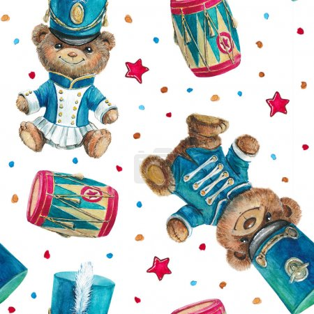 Watercolor seamless pattern with vintage bear teddy in military uniform