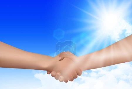 Handshake sky hand background