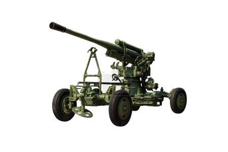 antiaircraft gun on white background