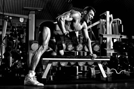 Photo for Very power athletic guy , execute exercise with  dumbbells, on broadest muscle of back, black-and-white, grey, gray - Royalty Free Image
