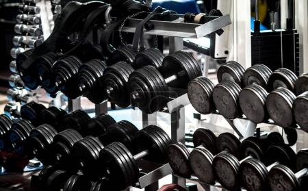 Photo for Many black dumbbells in gym room, horizontal photo - Royalty Free Image