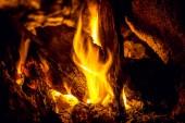 """Постер, картина, фотообои """"горения пламени пожара и угли концепции макро, Барбекю"""""""