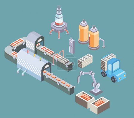 Automated production line. Factory floor with conveyor and various machines. Vector illustration in isometric projection.