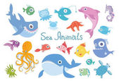 Cartoon sea animals set. Whale, shark, dolphin, octopus and other marine fish and animals. Vector illustration, isolated on white background.