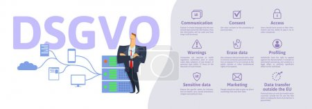 Illustration for DSGVO, german version of GDPR: Datenschutz-Grundverordnung. Concept vector illustration. General Data Protection Regulation. The protection of personal data. Server and security guard. - Royalty Free Image