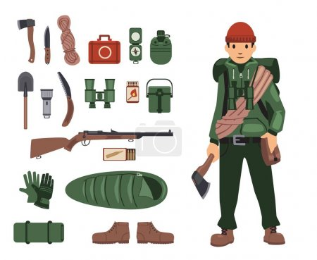 Illustration for Fully bushcraft-equipped man with isolated bushcraft items nearby. Survival kit in details. Set of isolated images on white background. Vector illustration. Flat style. - Royalty Free Image