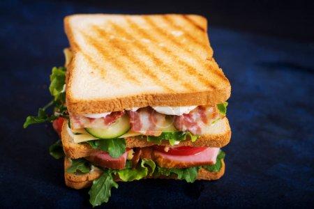Photo pour Sandwich Big Club avec jambon, bacon, tomate, concombre, fromage, œufs et herbes sur fond sombre - image libre de droit