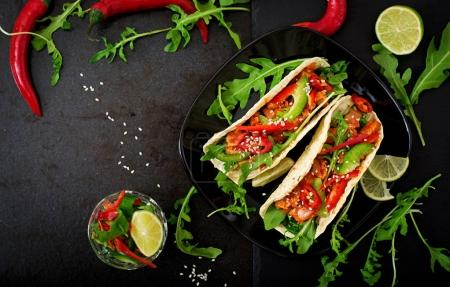 Mexican tacos with chicken fillet