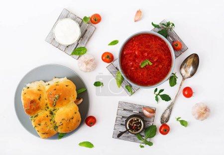 Traditional Ukrainian vegetables borscht