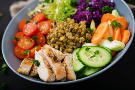 Healthy salad with mung beans